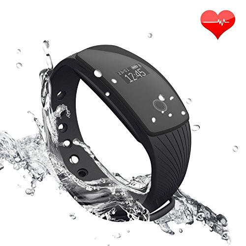 Fitness Tracker RIVERSONG Updated Version Waterproof Heart Rate Tracking Smart Bracelet Pedometer Activity Sleep Monitors Calorie Tracking Wristband for iPhone and Android Phones (Black5)