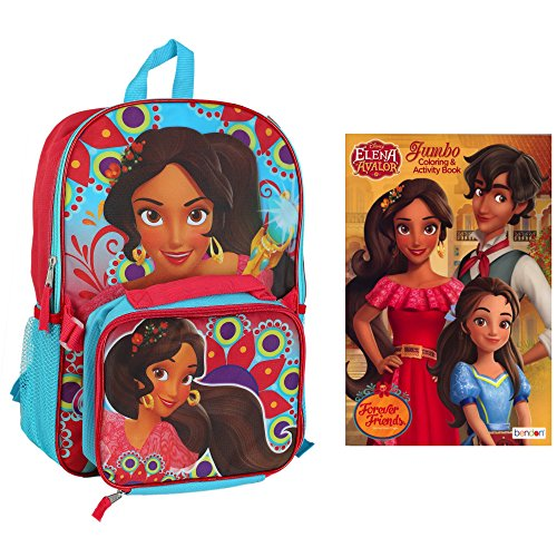 PRINCESS ELENA BACKPACK With Detachable Lunch Box & Bonus Jumbo Coloring Book (Princess Page Kit)