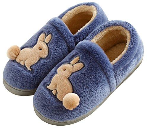 Namaakbont Pantoffels Voor Mannen Bedekken Hak, Warme Winter Schoenen Indoor Thuis Schoen Lichtgewicht Marine Blauw
