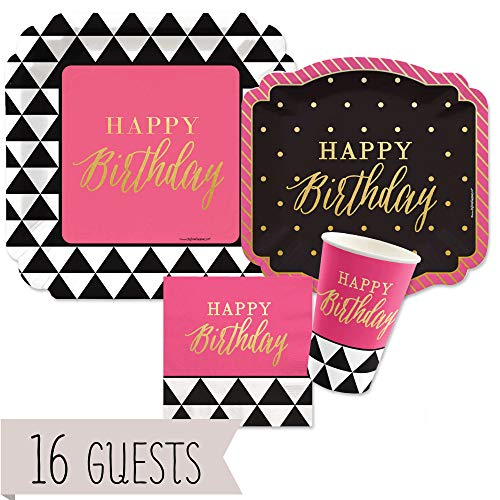 Big Dot of Happiness Chic Happy Birthday - Pink, Black with Gold Foil - Party Tableware Plates, Cups, Napkins - Bundle for 16