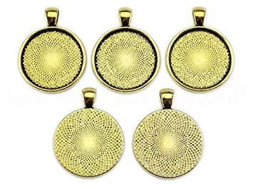 Amazon 10 cleverdelights 1 round pendant trays antique 10 cleverdelights 1 round pendant trays antique gold color 25mm pendant blanks settings mozeypictures Choice Image