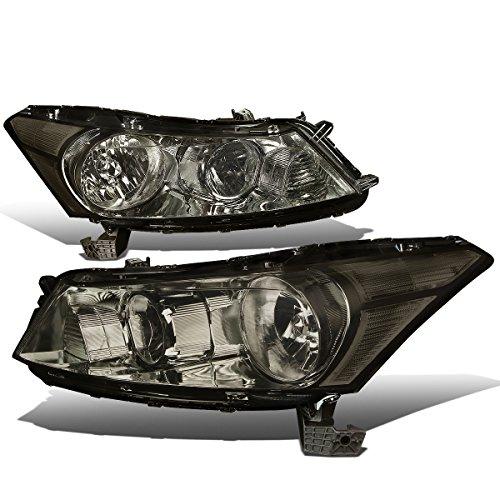 (For Honda Accord 8th Gen Sedan Pair of OE Style Smoke Lens Clear Corner Headlight)