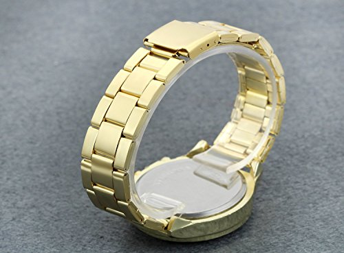 Men's Luxury Bling Double Dual Rhinestone Bezel Japan Quartz 30M Waterproof Gold Tone Bracelet Cuff Bangle Dress Unisex Watch (Gold) by Lancardo (Image #2)'