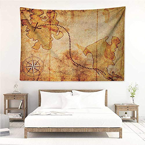 alisos Compass,Tapestries for Sale Bohemian Style Treasure Hunt Map with Small Compass Paint on It Manuscript Atlas Finding 60W x 51L inch Mattress, Tablecloth Tan