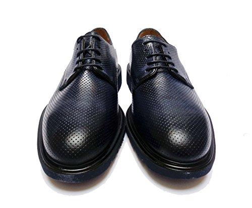 Chaussures Homme Antica Cuoieria En Cuir Bleu Fond En Caoutchouc Léger, Num. 41