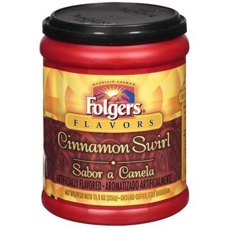 Folgers Flavors, Cinnamon Swirl Ground Coffee, 11.5oz Tub (Pack of 3) Tennessee Beverage Tub