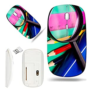 Luxlady Wireless Mouse White Base Travel 2.4G Wireless Mice with USB Receiver, 1000 DPI for notebook, pc, laptop, macdesign IMAGE ID: 22829983 Colorful pencils lens book and ruler on colored paper