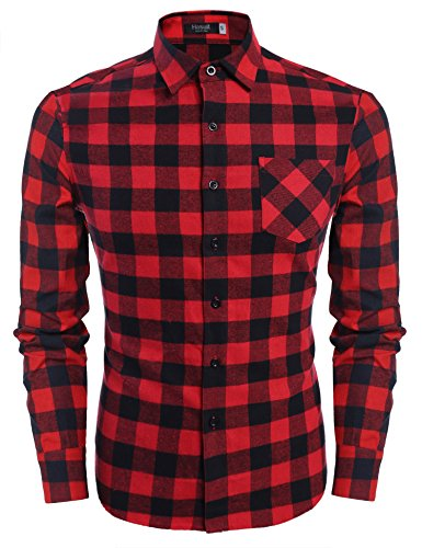 Hasuit Men's Long Sleeve Fireside Plaid Flannel Shirt Button Down Shirts - Red Flannel Shirt For Men