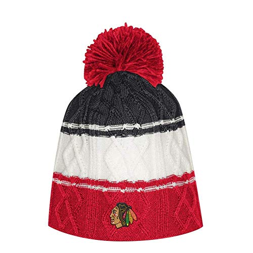 adidas Women's Chicago Blackhawks Beanie Cable Knit Cap with Pom