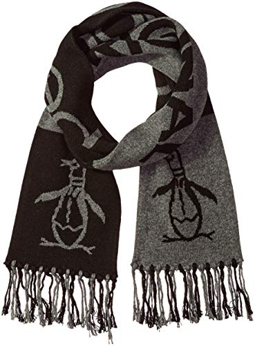 (Original Penguin Men's Retro Sport Knit Scarf, Black/Gray Heather, OSFA)