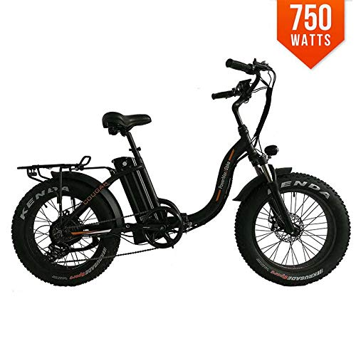 PowerMax Ebike Cougar Folding Electric Bicycle 48V BAFANG 750W Motor 20 Inch Fat TIRE Mini Foldable Step Through Electric Bike 11.6 Ah Lithium Battery Snow Beach City Mountain Bike