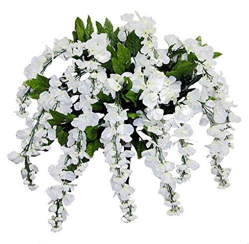 (Admired By Nature GPB392-CREAM Artificial Wisteria Hanging Flowers Bush, Cream, 15 Stem, C.Cream-392)