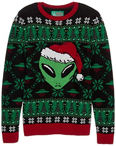 Men's Ugly Christmas Sweater-Light-Up Xmas Alien