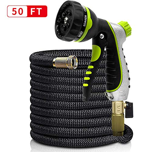 WROLEM 50ft Garden Hose Upgraded Expandable Flexible Water Hose, Natural Latex Inner Hose, 3/4 Solid Brass Connector, Extra Strength Fabric, 8 Function Spray Included ()