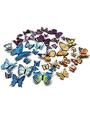 FUJIE 36 PCS 3D vlinders muursticker decoratie muursticker waterdicht kunststof vlinder decoraties magneet + kleefpunten (12 blauw, 12 geel, 12 paars)
