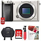 Sony Alpha a6000 24.3MP Silver Interchangeable Lens Camera - Body (ILCE6000/S) w/32GB Bundle Includes, Carrying Case, 12 Tripod, 32GB Memory Card and more (Deluxe Kit with Extended Warranty)
