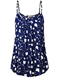 Timeson Womens Spaghetti Strap Tank Tops, Junior Fashion Floral Chiffon Camisole Tank Tops Comfy Flowy Pleated Front Tunic Tanks for Summer for Leggings Multicolor Blue Medium