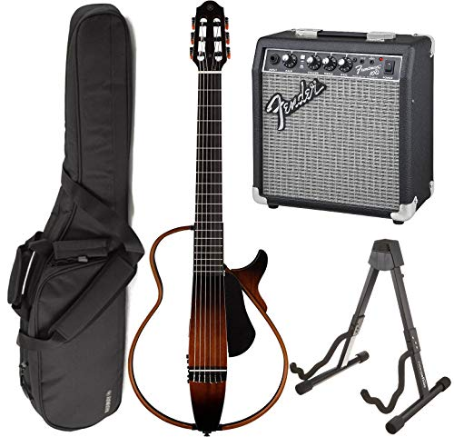 (Yamaha SLG200N TBS Nylon Silent String Acoustic Electric Guitar (Tobacco Sunburst) bundled with the Fender Frontman 10G Electric Guitar Amplifier, Gigbag, and Guitar Stand)