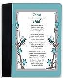 Rikki Knight To My Most Wonderful Dad Aqua Blue Birds on Branches Design Poem Notebook Portfolio Faux Suede (Notebook Included)