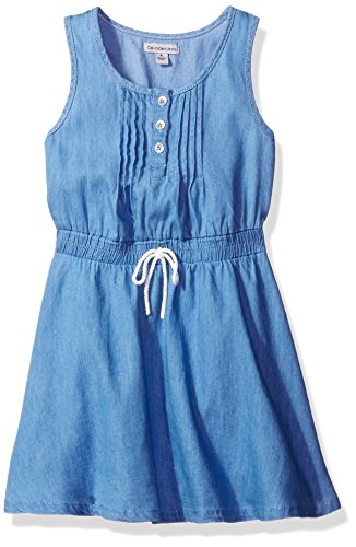 Calvin Klein Toddler Girls' Sleeveless Denim Dress, Chambray, 4T