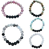 #7: LAVACO Lava Rock Stone Essential Oil Diffuser Bracelet - Natural Precious Healing Gemstone Crystal Beads Bracelet - Relieves Stress/Anxiety