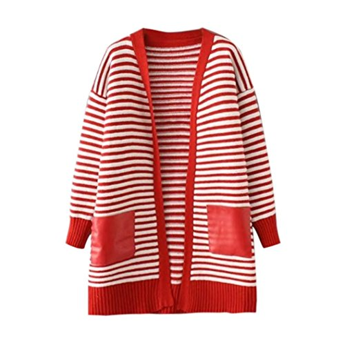 2017Hot!Elevin(TM)Women Autumn Loose Pocket Knitted Sweater Long Cardigan Coat Jacket Outwear (Red)