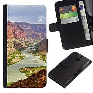 YiPhone /// Tirón de la caja Cartera de cuero con ranuras para tarjetas - gran Cañón - HTC One M8