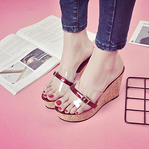 Sandalias Transparente Aumentan CuñA La con Vino De Que Altura Verano Mujer Toamen Zapatos Plataforma Zapatilla 1q51I