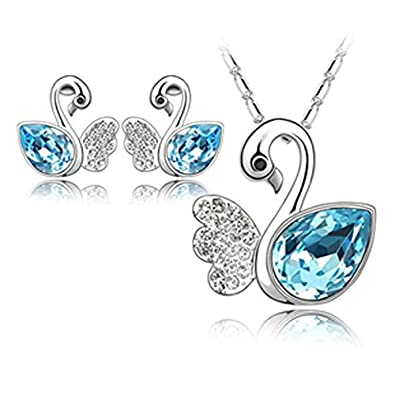 Habors 18K White Gold Plated Ocean Blue Angel Wing Swan Austrian Crystal Pendant Set For Women (Valentine Day) Women's Jewellery Sets at amazon