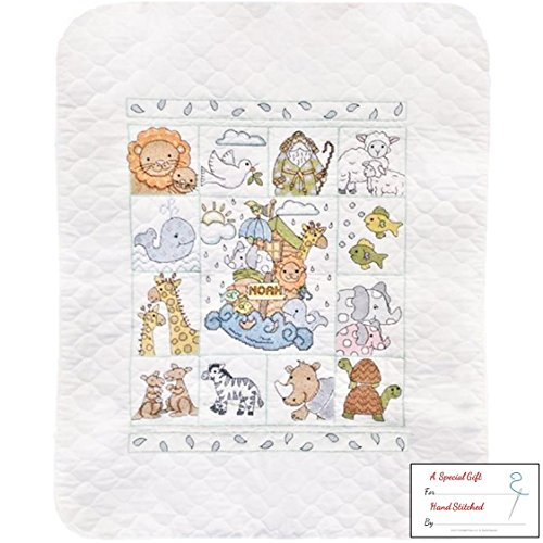 Noah's Ark Baby Quilt - Stamped Cross Stitch Kit - 34 by 43-inch with Gift Card