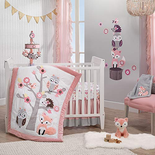 Lambs & Ivy Friendship Tree 3-Piece Crib Bedding Set – Pink, Gray, White
