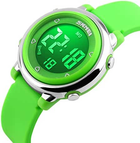 Takyae 2017 Children Digital Kids Watch with Hourly Chime & Stopwatch & Daily Alarm & Calendar Green