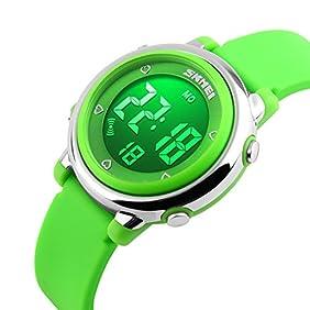 USWAT Children Digital Watch Outdoor Sports Watches Boy Kids Girls LED Alarm Stopwatch Wrist watch Children's Dress Wristwatches Green