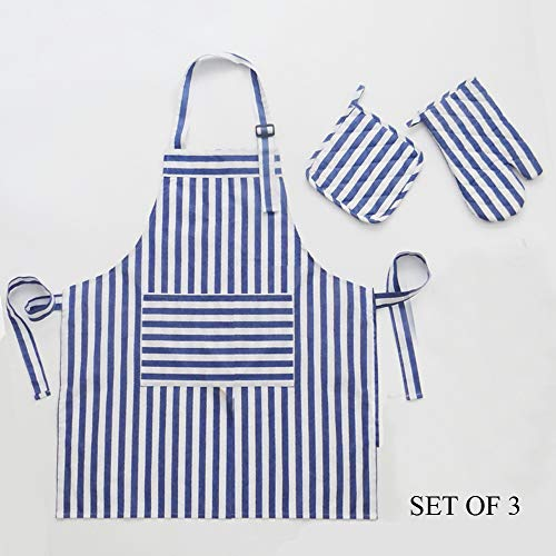 Dadidyc Cotton Chef's Apron Set with Mitten, Pot Holder, Set of 3, Adjustable Apron with Pocket Pinstripe Essential for All Kitchens (White Blue)