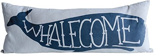 Amazon.com: Creative Coop Whalecome - Almohada rectangular ...