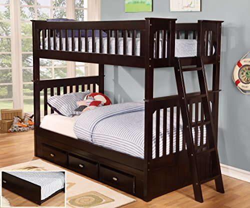 Discovery World Furniture Twin Over Twin Bunk Bed with Twin Trundle Bed, Espresso