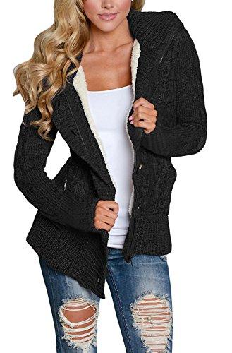 Asvivid Women's Lightweight Button Down Knitwear Cardigan Fleece Pullover Sweaters With Hood Medium Black (Sweater Long Sleeve Lined)