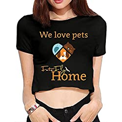Ghhpws We Loves Pets Summer Women Sexy Revealed Navel Short Sleeve Bare Midriff Crop Top T Shirt Black M