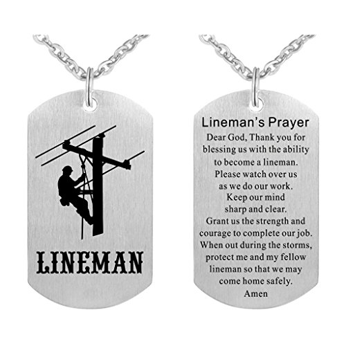 Lineman Prayer Necklace Stainless Steel Dog Tag Gift Idea from Wife Pendant ()