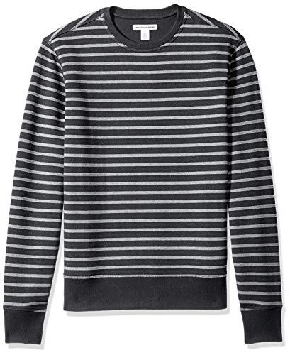 (Amazon Essentials Men's Crewneck Fleece Sweatshirt, Black Stripe, Large)