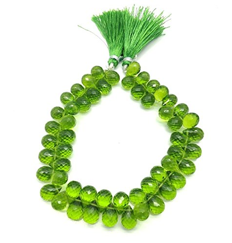 NAAZ GEMS One Strand Beautiful Natural Peridot Quartz Gemstone Beads Size 11x8 mm Shape Teardrop Faceted Strand Length 9 Inch Approx