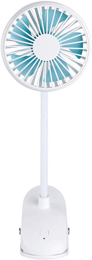 Color : White USB Rechargeable Portable Light Body 360/° Adjustable Fan USB Desk Fan Portable Small Fan