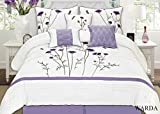 Purple Bedding and Curtain Sets Fancy Collection 7-pc Embroidery Bedding Off White Purple Lavender Comforter Set (Queen)