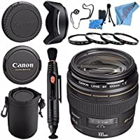 Canon EF 100mm f/2 USM Lens 2518A003 + 58mm Macro Close Up Kit + Lens Cleaning Kit + Lens Pouch + 58mm Tulip Lens Hood + Fibercloth Bundle