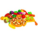 Fidgetkit 26 Pcs Play Cutting Food with Backpack, Fruits and Vegetables Kitchen Pretend Play Set, Educational Plastic Party Toy for Kids and Children by