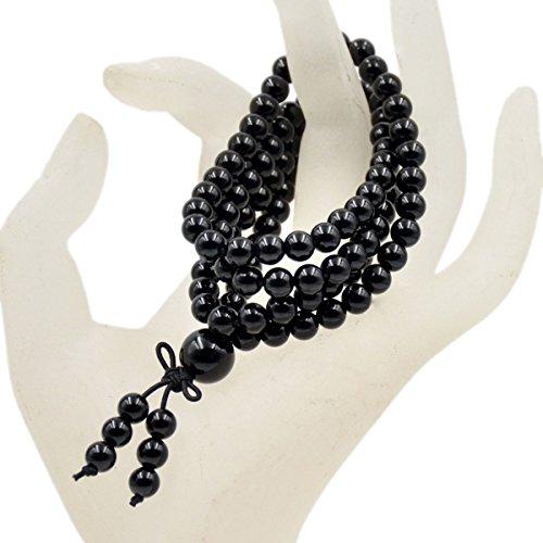 Tibetan Onyx - AD Beads Natural Gemstones Buddhist 108 Prayer Healing Beads Mala Stretchy Bracelet Necklace 6mm (Black Onyx)
