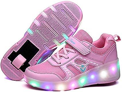 SQL Zapatos para niños llevadas compactadora de Ruedas retráctiles monopatín Patines vibración Zapatos Iluminar al Aire Libre Unisex de Las Zapatillas de Deporte de Gimnasia Polea