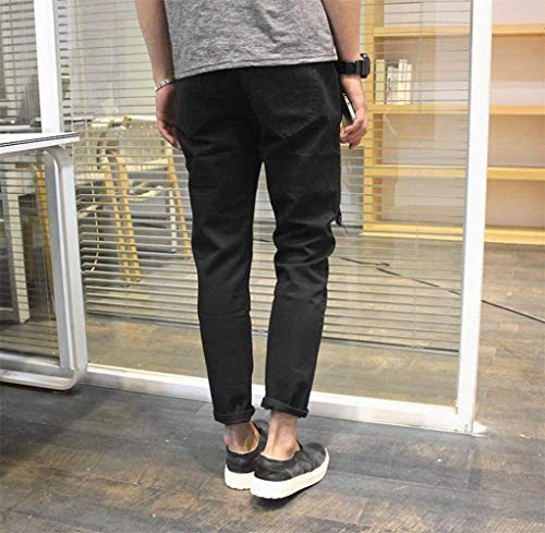 Casual Pantaloni Denim Jeans Abbigliamento New Cool Super Uomo Nero Fit Pants Handsome Strappato Slim Hot np4ngqP