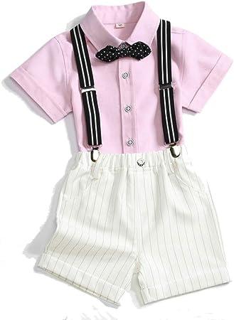 Baby Boys Trajes De Caballero Trajes Camisa De Manga Corta Infantil + Tirantes Shorts + Bow Tie Traje De Smoking De La Boda,Pink-31.50: Amazon.es: Hogar