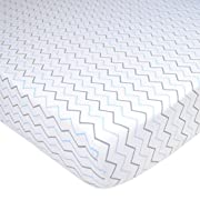 American Baby Company Printed 100% Cotton Jersey Knit Fitted Crib Sheet for Standard Crib and Toddler Mattresses, Blue Zigzag